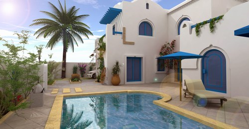 Villa maison djerba tunisie for Budget construction maison tunisie